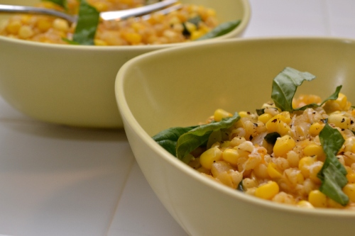 everyday food, barley risotto, corn, basil, a pear to remember